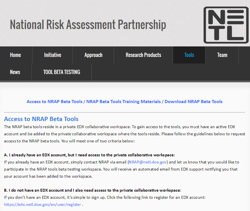 Image of NRAP Tools Webpage